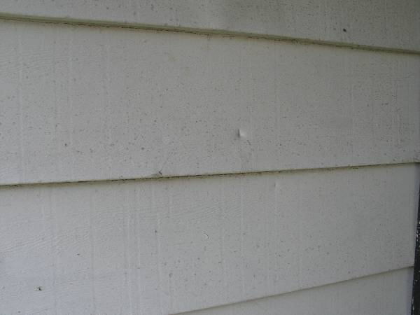 Debris impact marks from hurricane winds destroy Florida house siding
